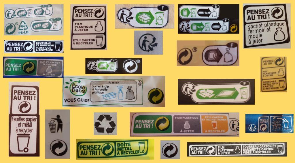 Photos de différents logos de recyclage
